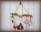 Driftwood Windchime, Yard Art, Garden Decoration with Bottles, beads and Baubles