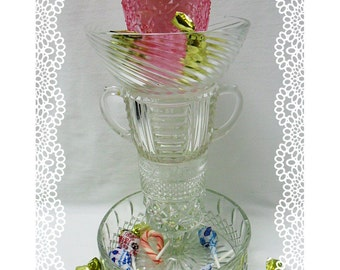Candle Stand and  Candy Dish, Pink and Reversable  OOAK