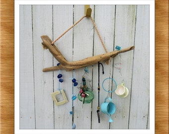 Driftwood Windchime,  Garden Decoration,  Yard Art, Mobile of Beads, Baubles, Bottles and Buttons