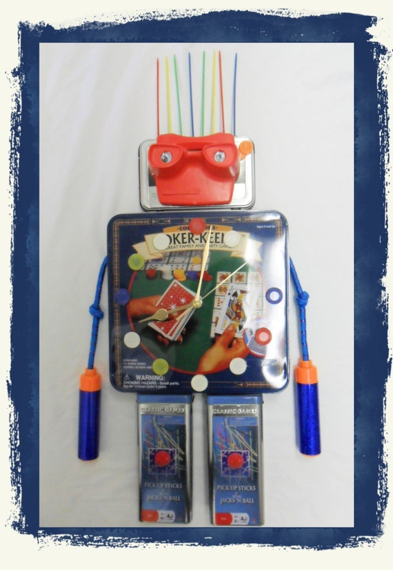Clock, Robot, Games,Assemblage ,Mixed Media, Repurposed, Found Objects,  OOAK