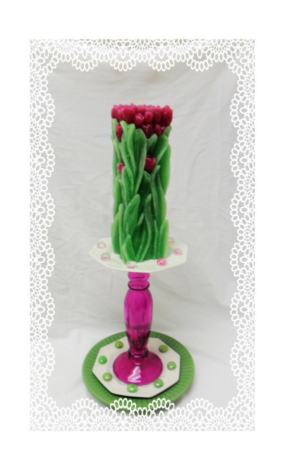 Fushia and lime, candle with holder, candleabra totem, Table decoration, matching set