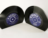 Vinyl Record Bookends/Book Ends with choice of label colour