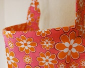 Reserved: Darlene P.  Lightweight Nursing Cover - Bright PInk, Orange, and White Flowers (S)