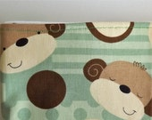 Burp Cloth Set - Green, Brown, Cream, Dots, and Monkeys (S)