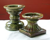 2 Vintage Green Candle Holders