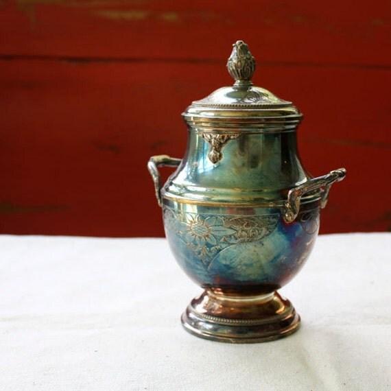 Art Nouveau, Vintage Silver Plate Sugar Bowl