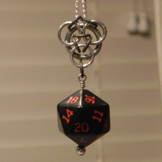 Triad with D20 Die Chainmail Pendant
