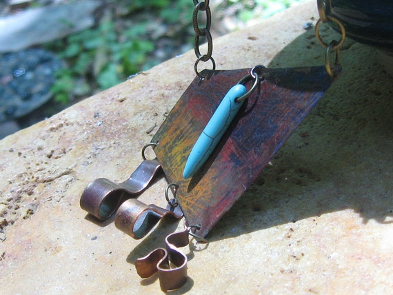 Shimmer - Handmade Fire Painted Copper, Prismacolor and Turquoise Resin Dagger Necklace