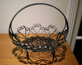 FREE SHIPPING vintage handmade black wrought iron basket mail keys flower holder caddy catchall hearts swirls curls curly swirly
