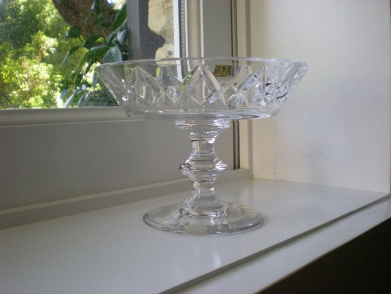 FREE SHIPPING val st. lambert crystal compote pedestal fruit bowl candy dish blossom vase // vintage midcentury belgian glass