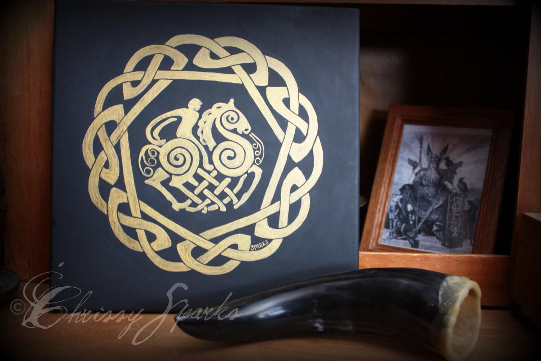 Odin & Sleipnir 12x12 Painting