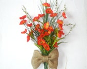Red Poppies Flowers Bow Wall Door Arrangement  Anniversary  Gift Free shipping - LeatherAndRoses