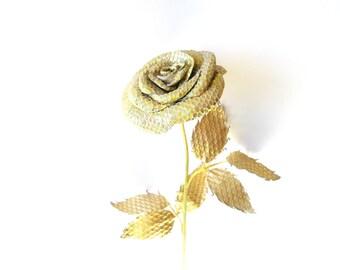 Gold rose - Leather rose- Wedding flower- 3rd Anniversary Gift- Long Stem Flower- Valentines Day