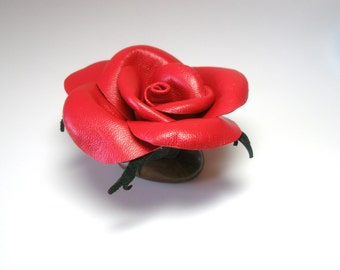 Three year anniversary - sexy red rose -Floral Wedding Decor-Floral Arrangement ,Red  Rose , Housewarming gift ,Paperweight
