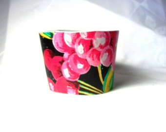Sale Coffee Cup Sleeve -Pink  Green Violet  Fruit Coffee Cup Cozy Sleeve Leather