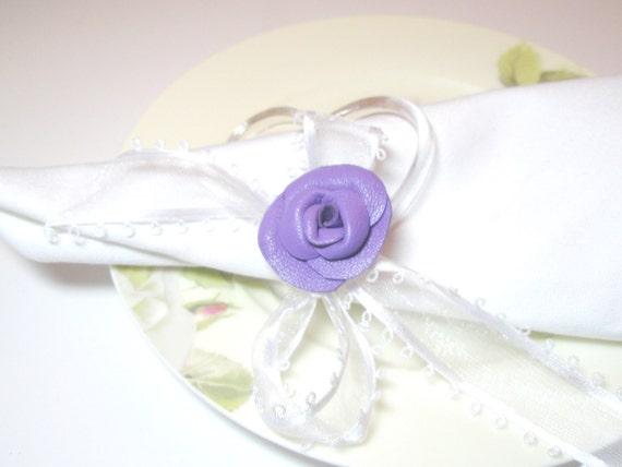 Houseware Leather Rose Napkin Rings set of 4