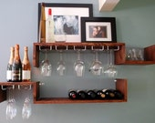 Wall Mounted Wine Rack and Glass, Candle or Book Shelves
