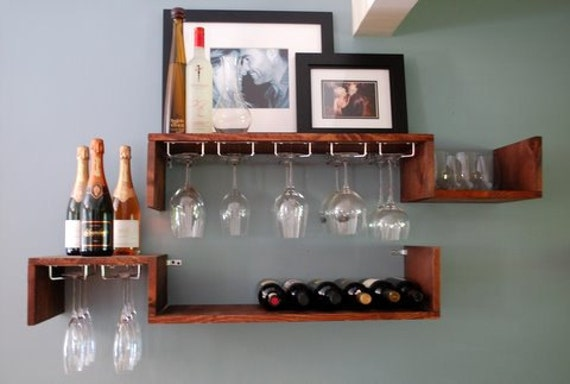 items similar to wall mounted wine rack and glass candle. Black Bedroom Furniture Sets. Home Design Ideas