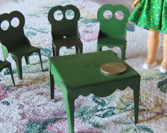 Doll Metal Table and 4 chairs Antique