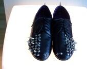 Black Spiked Studded Flat Shoes Spectator Oxfords gray rhinestone studded