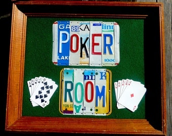 POKER ROOM custom recyled license plate wall art sign by LICENSE2SPELL