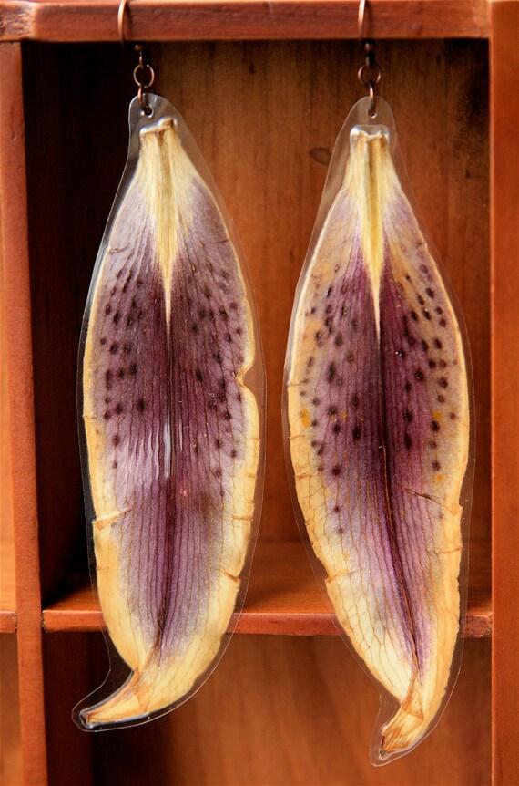 Purple Stargazer Oriental Lily Pressed Flower Petal Earrings