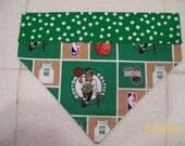 Hand-Made Reversible Dog Bandana NBA Boston Celtics Basketball Bandana Scarf Kerchief, Slides on Collar, Over the Collar, Hoops, Puppy