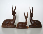 Wooden deer / gazelle / antelope - set of 3