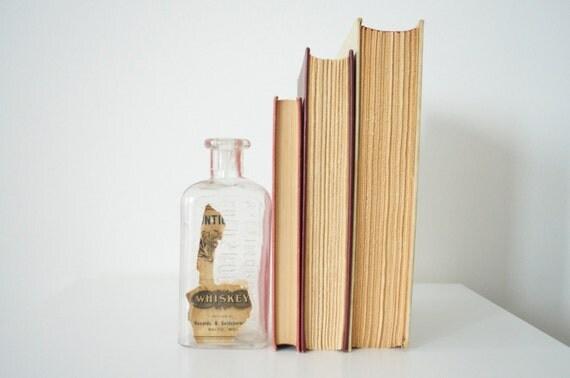 Glass whiskey bottle, Vintage, partial label