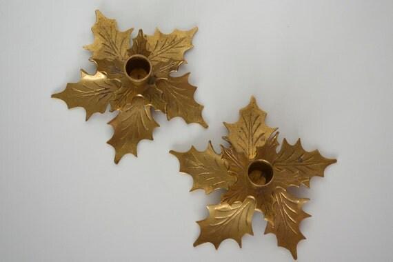 Brass candle holder poinsettia Christmas decor - set of 2