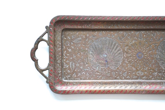 Peacock metal tray Asian style