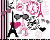 Paris clipart Paris Clip Art digital French clipart eiffel tower digital scrapbook commercial use in pink and black : c0211 & 3s14