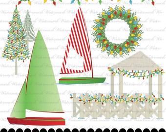 Christmas Nautical Clip art, Christmas clipart, sailboat digital clip art, nautical clipart : h1052, 4s03