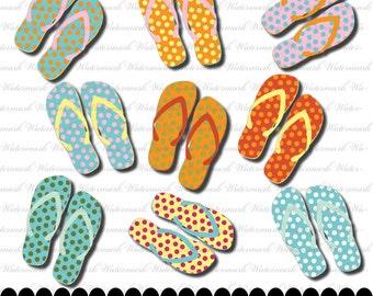 Flip Flop Clip art, digital, clipart, flip flops clipart, flip flops clip art, beach clip art, summer clip art : c0231  v301