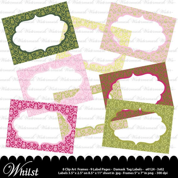 Damask printable labels and Damask Digital Frames, Damask tags, digital clip art scrapbooking, pink, green, yellow : e0124 & 3s02