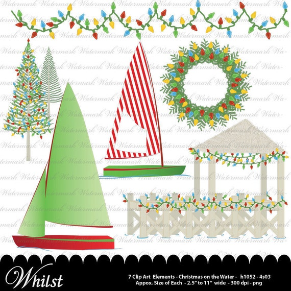 Christmas Nautical Clip art, Christmas clipart, sailboat digital clip art, nautical clipart : h1052, 4s03