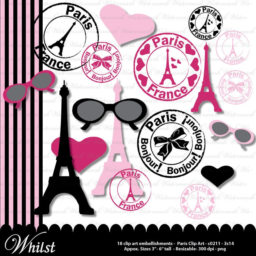 Paris Clipart Clip Art Digital French Eiffel