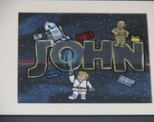 Personalized Framed Name Art- Star Wars, legos