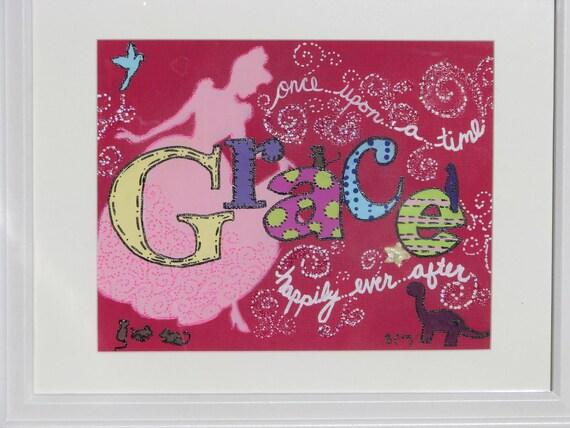 Personalized Framed Name Art-Cinderella, princess