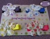 Momma Eva's --  SpringTime  Floral Hair Clips Set // 4 Clip Set // Ready To Ship // Perfect For All Ages