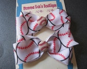 Momma Eva's -- Baseball Pig Tail Cuties Hair Bow Set Of TwO // Small 2 in Bow Style // Ready To Ship