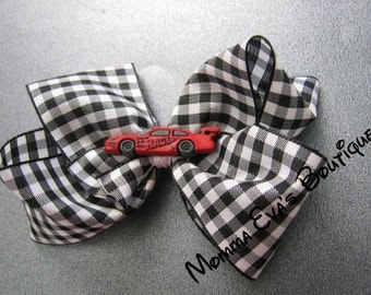 Momma Eva's --  Red Race Car Champion Boutique Hair Bow // You Choose Your Race Car Color