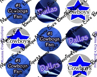 Momma Eva's -- Buy 4 Get 2 FREE // Dallas Cowboys Inspiration Collection / 4 x 6  / 1 in Circles / Make Bottle Caps Scrapbooking Hair Bows