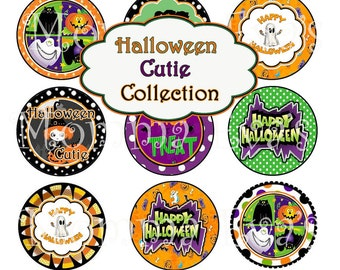 Momma Eva's -- INSTANT / Halloween Cutie Inspired Collection (003)  / 4 x 6  / 1 in Circles / Make Bottle Caps Scrapbooking Hair Bows