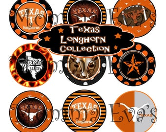 Momma Eva's -- INSTANT DOWNLOAD / Texas Longhorn Inspired  Fan Collection / 4 x 6  / 1 in Circles /  Bottle Caps Scrapbooking Hair Bows