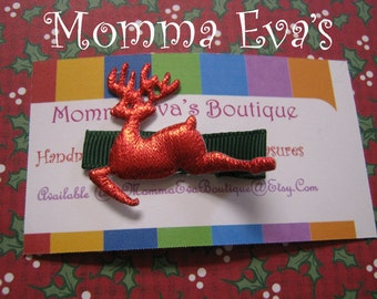 Momma Eva's --  1.75 Hair Clippies SaLe // Red Shiny Christmas Reindeer Hair Clippie Design // Ready To Ship