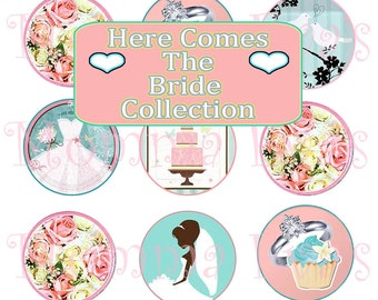 Momma Eva's -- INSTANT DOWNLOAD / Here Comes The Bride Inspired CollecTioN /  / 4 x 6  / 1 in Circles /  DIY / Bridal Shower Supplies