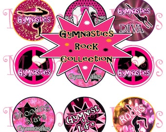 Momma Eva's -- INSTANT // Gymnastics Rock Collection / 4 x 6  / 1 in Circles /  Bottle Caps Scrapbooking Hair Bows