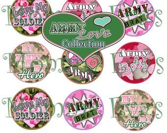 Momma Eva's -- Army Love Inspired Collection / 4 x 6  / 1 in Circles /  Bottle Caps Scrapbooking Hair Bows