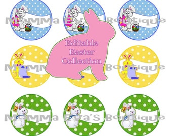 Momma Eva's -- EDITABLE Easter Inspired  Collage / 4 x 6  / 1 in Circles / Make Bottle Caps Scrapbooking Hair Bows / INSTANT DOWNLOAD
